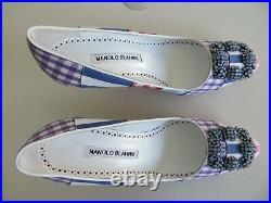 $1065 Manolo Blahnik NEW Hangisi Pump 36.5 Blue Crystal Buckle Patch Lim Edition