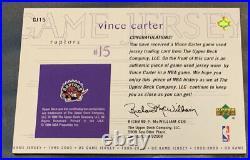 1999-00 Upper Deck Game Used Jersey #GJ-15 Vince Carter Toronto Raptors