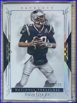 1/1, Tom Brady 2017 National Treasures Silver Parallel #12/25 JERSEY Number