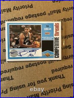 2001-02 Topps Competitive Threads Auto Tim Duncan VVHTF 10/25 Hand Numbered