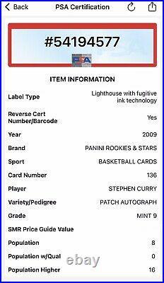 2009 Rookies & Stars Stephen Curry RC AUTO /449 ON CARD ROOKIE AUTOGRAPH PSA 9