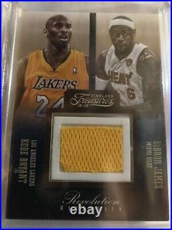 2012-13 Kobe Bryant Lebron James Timeless Treasures Game Materials 7/75