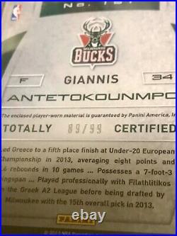 2013 Totally Certified Giannis Antetokounmpo RC /99 BLUE Prizm Rookie PSA 9 POP1