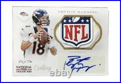 2014 National Treasures Peyton Manning 1/1 NFL Shield Auto