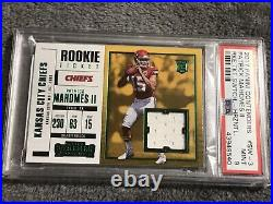 2017 Contenders Patrick Mahomes RC Rookie Ticket Swatch Jersey PSA 9 Mint POP 30