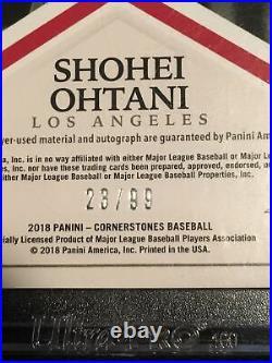 2018 Panini Cornerstones Shohei Ohtani Auto Jersey RC 23/99 Los Angeles Angels
