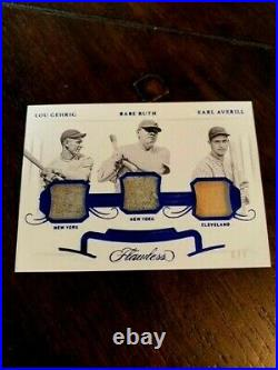 2020 Flawless Lou Gehrig Babe Ruth Earl Averill Game Used Relic Card #6/7