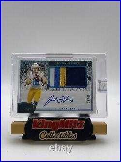 2020 Panini One JUSTIN HERBERT RPA 4 COLOR PATCH AUTO RC BLUE /49 Chargers