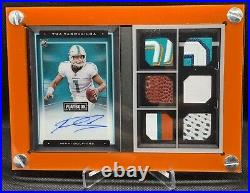 Autographed Tua Tagovailoa 4/25 Panini Playbook Booklet With6GU Patch RC & Display