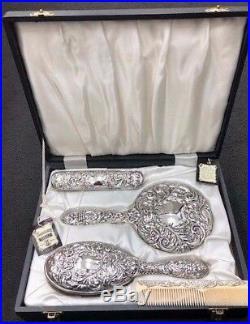 Broadway & Co Ltd Sterling Silver Four Piece Vanity Set in its Original Box