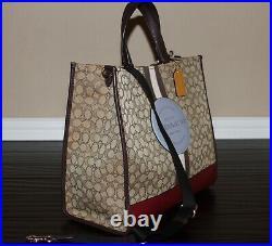 COACH Dempsey Tote 40 Signature Jacquard Logo Patch XL Bag Khaki Brown $450