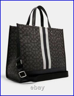 COACH Dempsey Tote 40 Signature Jacquard Logo Patch XL Travel Bag Black $450