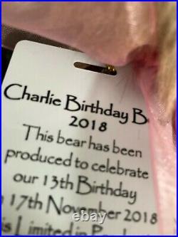 Charlie Bears Retired 2018 Birthday Bear Ltd 2000 Pieces Signed