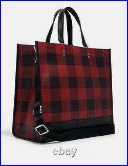 Coach Dempsey Tote 40 Buffalo Plaid Print Logo Patch Large Travel Bag