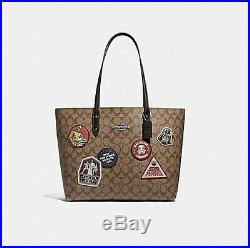 Coach Star Wars F88020 QBE7V Town Tote Khaki Signature Canvas Logo Patch Bag NEW