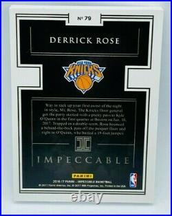 Derrick Rose 2016-17 Panini Impeccable NBA Logo Silver Troy Ounce Bar /16 SSSP