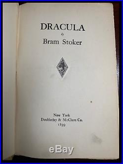 Dracula by Bram Stoker Hardback 1899 1st US Edition First Printing Piece History