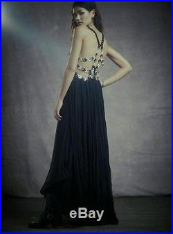 FREE PEOPLE Jill's Leather Pieced Maxi Dress LIMITED EDITION Black Size 2 $600