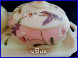 Fenton Hummingbird Burmese Vanity Tray 3 Piece Dresser Set 100th Anniversary LE