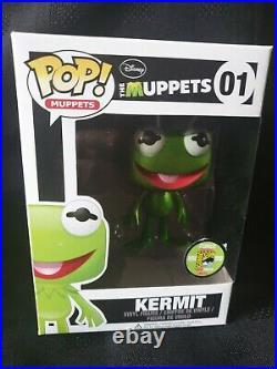 Funko Pop! Muppets! Kermit #01 Metallic SDCC 2013 Limited Edition 480 pieces. Gr