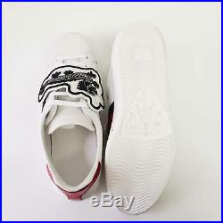 Gucci Ace with UFO's and Dragons Patch Leather Sneakers White NEW $980