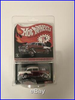 HOT WHEELS 2016 RLC CLUB CAR Red/White'55 Chevy Bel Air Gasser withButton & Patch
