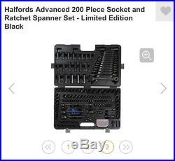 Halfords Advanced 200 Piece Socket Ratchet Set Limited Edition Black New