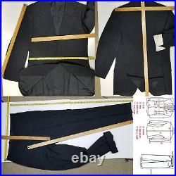 J. C. Wells Ltd. Bespoke Saville Row 3-Piece Suit Navy / Striped 38-36R