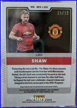 Luke Shaw 2019-20 Panini Obsidian Soccer Red Tmall /22 Manchester United MX- LSH