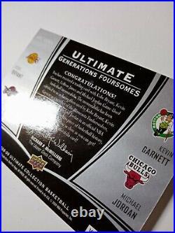 MICHAEL JORDAN KOBE BRYANT 2008-09 Ultimate Foursomes Generations patch #d 08/10
