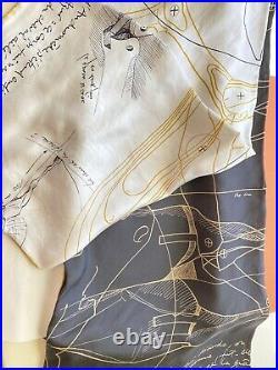 NEW HERMES Collector Piece! Le Pegase d'Hermes Cut Wash Scarf 140 White/Black