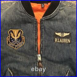 NEW! Polo Ralph Lauren Limited Edition Denim Patch Flight Bomber Jacket Sz Small