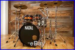 Natal Originals Maple Ltd Edition 4 Piece Drum Kit, Piano Black / Orange Sparkle