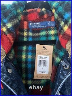 Polo Ralph Lauren Hi Tech Patch VTG Retro Plaids Fleece Hooded Trucker Jacket XL
