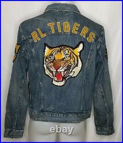 Polo Ralph Lauren Mens Varsity Tigers Football Letterman Patch Denim Jacket XL
