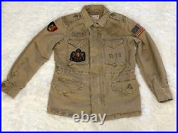 Polo Ralph Lauren Womens Patch Jacket Tan Weathered Military Inspired Size XS