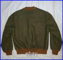 RRL Ralph Lauren Indian Varsity Letterman Green Wool Bomber Flight Jacket Coat M