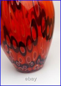 Rare 4kg Toso & Barovier Murano 1970s Signed Red Millefiori Vase Art Glass Piece