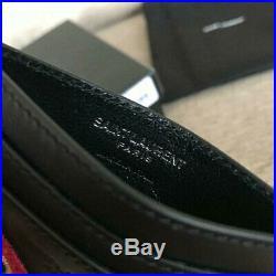 Saint Laurent paris sl love patch credit card case in black leather
