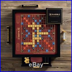 Scrabble Franklin Mint Limited Edition 18K Gold Plated Pieces Black Wood Cabinet