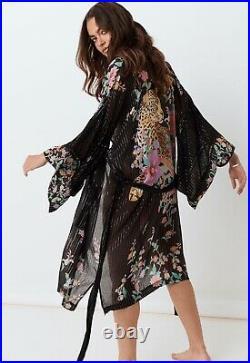 Spell Designs Gypsy Boho Black Jimi MIDI Festival Robe Kimono Duster Bnwt S/m