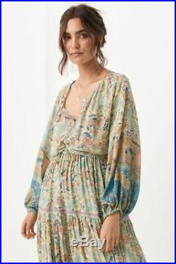 Spell & The Gypsy Oasis Blouse Opal Sheer Floral Print Long Sleeve Lurex S EUC