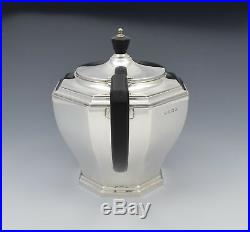 Stylish Silver Art Deco 3 Piece Tea Set Octagonal William Neale & Sons Ltd 1931