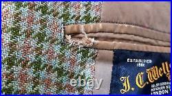 VTG 1969 JC Wells LTD LONDON 46S Houndstooth Tweed Elbow Patch Sport Coat Jacket