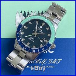 Zodiac Super Seawolf Sea Wolf GMT Blue Green Limited Edition Hodinkee 182 Pieces